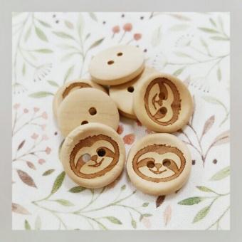 """Süßes Faultier - """"Sloth"""" Holzknöpfe - Babyknöpfe / Kinderknöpfe - 20mm"""