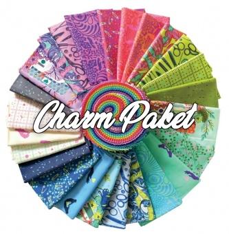 42er Charm Squares HomeMade Tula Pink Designerstoffkollektion - FreeSpirit Charm Pack Patchworkstoffe Stoffpaket mit Stoffquadraten
