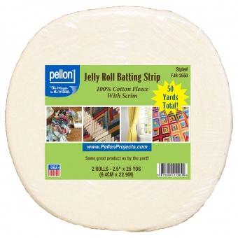 Jelly Roll Batting Strip Vliesrolle 2 1/2 inch x 50 yards - Baumwollvliestreifen auf der Rolle - Pellon