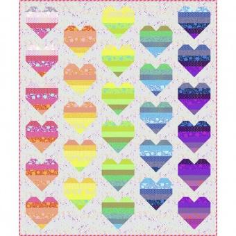 Floating Hearts Quilt Anleitung - Tula Pink True Colors Designerstoffe Pattern - FreeSpirit Patchworkdecke - GRATIS DOWNLOAD!