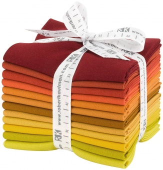 Autumn Hues Pallette Fat Quarter Stoffpaket - Kona Cotton Solids Unistoffe in Herbstfarben