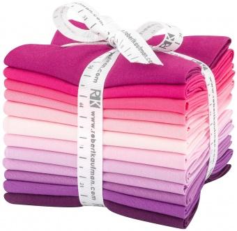 Wildberry Pallette Fat Quarter Stoffpaket - Kona Cotton Solids Unistoffe in Lila-, Pinknuancen & Rosatönen