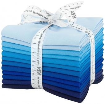 Waterfall Pallette Fat Quarter Stoffpaket - Kona Cotton Solids Unistoffe - Stoffpaket Blaunuancen