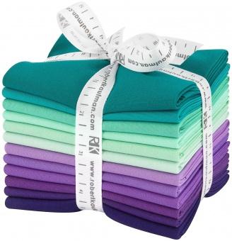 Aurora Pallette Fat Quarter Stoffpaket - Kona Cotton Solids Unistoffe - Stoffpaket Liltöne & Türkisnuancen
