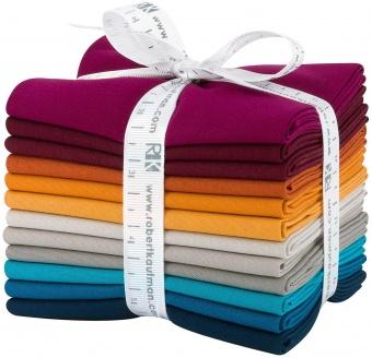 Tuscan Skies Palette Fat Quarter Stoffpaket - Kona Cotton Solids Unistoffe Stoffregenbogen