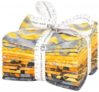 Helsiniki Batiks Fat Quarter - Artisan Batiks Lunn Studios Collection - Gelbe & Graue 12 FQs Gold Colorstory Batikstoffe