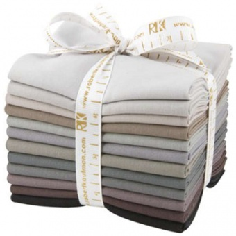 Gray Area Fat Quarter Stoffpaket - Kona Cotton Solids Unistoffe