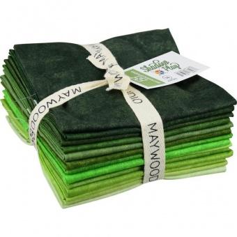10 FQ Shadow Play Greens - Maywood Studios Fat Quarter Paket  Grüntöne
