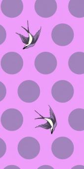 Tula Pink's Orchid Free Fall Quilt Backing - Überbreiter Rückseitenstoff mit Schwalben & Punkten