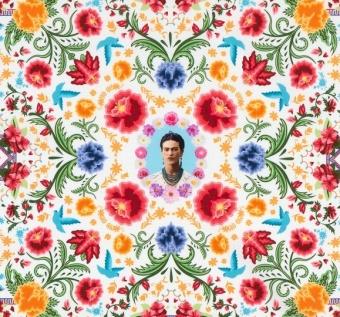 Frida Kahlo Lizenzstoff - White Damask Mexicana Motivstoff - Mexican Folklore Ethnostoff