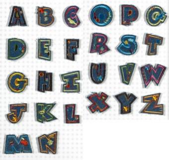 Aufbügelbare Jeans Buchstaben - Original Fun Letters Alphabet Bügelapplikationen  R