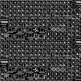 Tafelstoff Periodensystem & mehr - Math & Science - Schwarz-Weiß Chemie, Physik & Mathematik Motivstoff