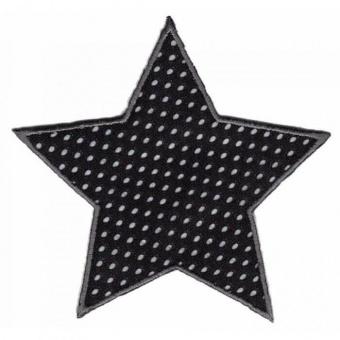Schwarz-Weißes Sternchen - Gepunktete Sternapplikation - Maritimer Unisex Aufnäher / Bügelapplikation
