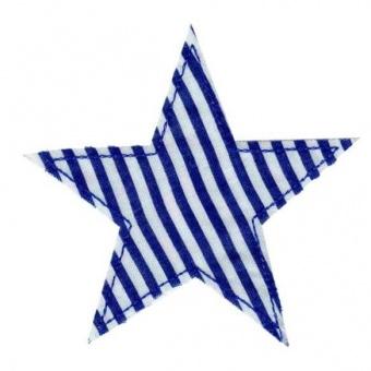 Blau-Weißes Sternchen - Gestreifte Sternapplikation - Maritimer Unisex Aufnäher / Bügelapplikation