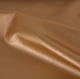 Goldenes dezent genarbtes, glattes Kunstleder - Veganes Lederimitat Gold Meterware