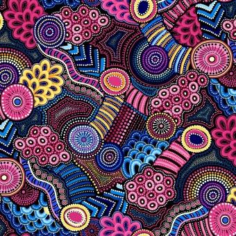 Australischer Aborigine Stoff - Gondwana Oasis Geometric Floral Navy / Pink - Blumenstoff