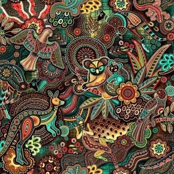 Australischer Aborigine Stoff - Gondwana Oasis Master Teal / Brown - Kängurustoff / Koalastoff