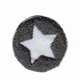 Grau-Weißes Sternchen - Runde Sternapplikation - Maritimer Unisex Aufnäher / Bügelapplikation