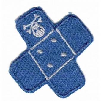 Blaues Pflaster mit Totenkopf Flicken - Aufnäher / Bügelapplikation