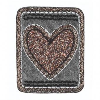 Roségoldenes Herzchen mit Glitzer auf Grau - Viereckige Bügelapplikation