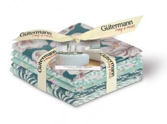 Mint-Petrol Cosy Mood Stoffpaket Blumenstoffe - Gütermann Premium Collection Fat Quarter Pakete