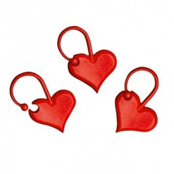 Rote Herzen Maschenmarkierer / Verschließbare Ringmarkierer Herzchen von Addi