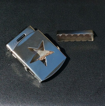 "40mm Gürtelschnalle ""Silberner Stern"" inkl. Endstück-Klammer"