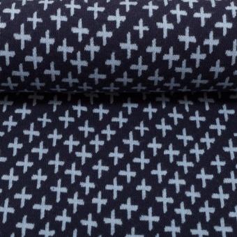Dunkelblau-Hellblaues Bündchen mit Muster - KARLA Schlauchware - Plus-Zeichen & Kreuze Bund Meterware