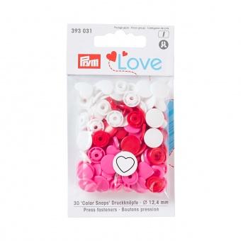 Herzchen Snap Druckknöpfe - PRYM Love Color Snaps Ø12,4mm - Pink / Weiß / Rot