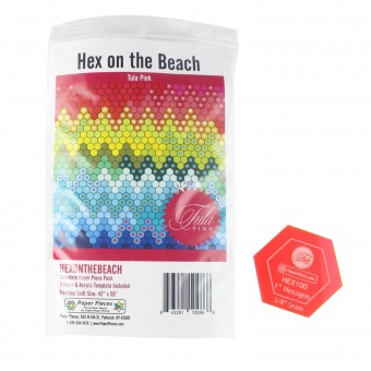 Tula Pink Hex on the Beach Quilt Paper Pieces plus Schnittmuster & Acrylschablone!
