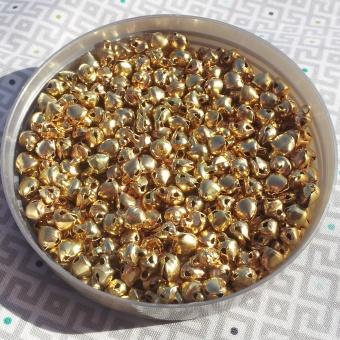 Goldene Mini-Glöckchen - Kreuzrolle, matt ca. 5mm, 20 Stück