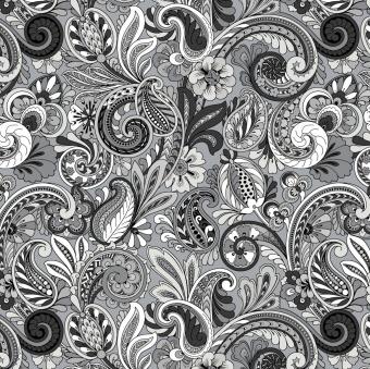 Hallmark Paisley Sorbet - Schwarz-Weißer Paisleystoff mit Blüten, Blumen & Ranken