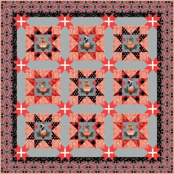 GRATIS DOWNLOAD! Holidays with our Homies Quilt Pattern - Anleitung Patchworkdecke - Tula Pink's Holiday Homies Weihnachtsstoffe Schnittmuster