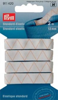 Weißes Standard-Elastic 12mm - Gummizug / Gummitwist / Gummiband / Gummizug - 2m Karte - elastisch