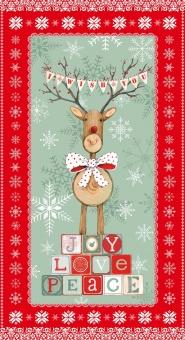 Rentier Stoffpanel - Joy Love Peace Reindeer Panel - Weihnachtsstoff