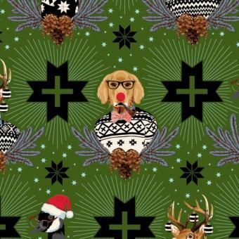 FLANELL! Pine Fresh Buck, Buck, Goose - Tula Pink Designerstoff - Holiday Homies Flannels Weihnachtsstoffe - VORBESTELLUNG JUNI 2021!