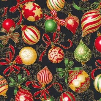 Schwarz-Rot-Grün-Gold Stoff mit Christbaumkugeln- Black Ornaments Medallions - Holiday Flourish Weihnachtsstoff