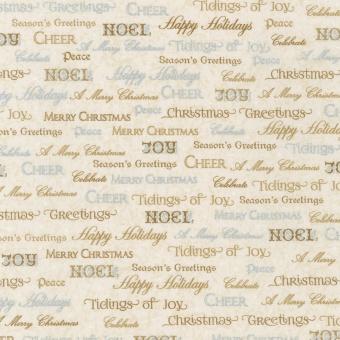 Beiger Schriftstoff Joy Noel Christmas mit Gold- und Silberdruck Weihnachtsstoff