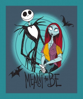 "PANEL! Nightmare before Christmas Lizenzstoff - Jack Skellington & Sally ""Meant to be""  Original Disneystoff / Halloweenstoff"