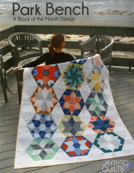 Park Bench BOM Patchworkdecke - Block of the Month Design Hex'N'More Schnittmuster Booklet - Jaybird Quilts