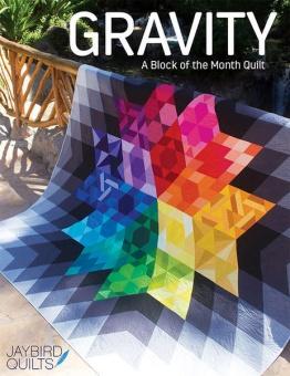 Gravity Patchworkdecke Block des Monats - Super Sidekick & Hex'n'More Ruler Block of the Month Jaybird Quilts BOM