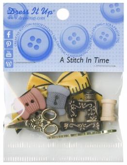 Nähmotivknöpfe - Knopfsammlung mit Garnspulen & Scheren - A Stitch in Time