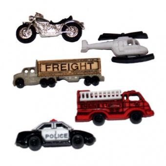 Einsatzfahrzeuge Knopfset - Feuerwehr, Polizei LKW, Motorrad, Helikopter Knöpfe