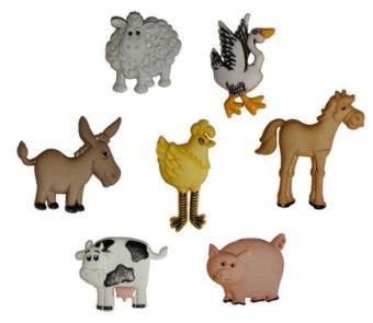 Bauernhof Tier-Knöpfe - Funny Farm - Knopfset