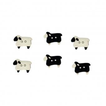 Weiße & Schwarze Schäfchen - Sew Thru Sheep Knopfset - Schafknöpfchen - Schafe Motivknöpfe