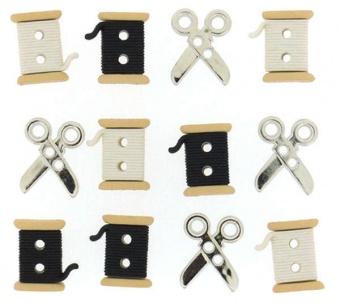Nähmotivknöpfe - Knopfsammlung mit Garnspulen & Scheren - Sew Cute Spools & Scissors