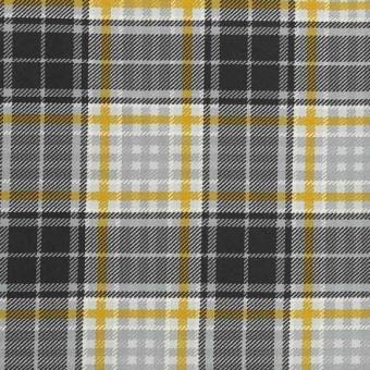 Gold Tartan Jersey - Hochwertiger, karierter Jerseystoff - Senfgelb-Grauer Karostoff von MEZ Fabrics