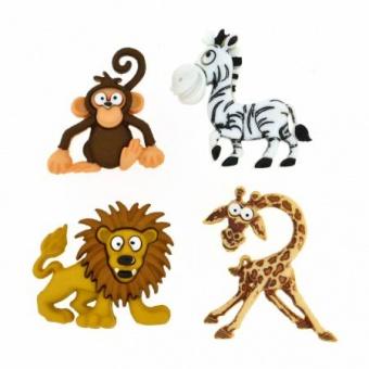Afrikanische Tiere Knöpfe - Silly Safari - Zootiere Knopfset