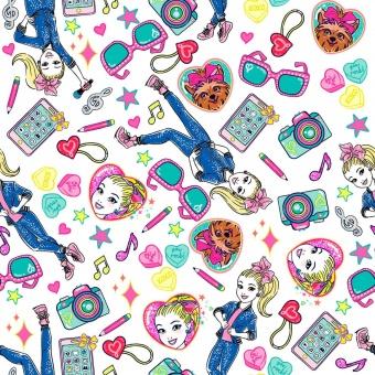 Jojo Siwa & Bow Bow Comicstoff - Nickelodeon Motivstoff - Tech Toss Baumwollstoff