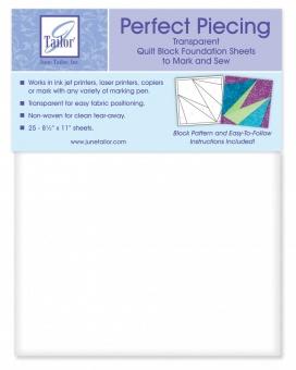 June Tailor Perfect Piecing Transparent Quilt Block Foundation Sheets - Bedruckbares Papier für Paper Piecing Technik